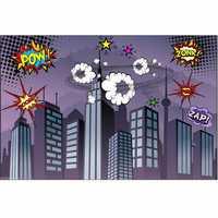 7x5FT Vinyl Superhero City Fighting Photography Prop Studio Background Backdrop
