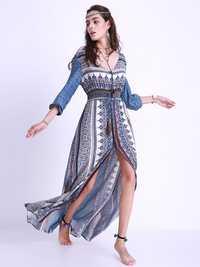 Sexy Women Printing Elastic Waist Split V-Neck Long Sleeve Dresses