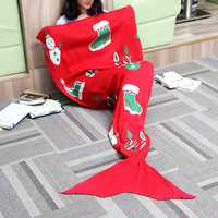 175x90cm Christmas Knitted Mermaid Tail Blanket Handmade Crochet Throw Super Soft Sofa Bed Mat