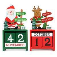 Christmas Creative Gift Mini Wooden Calendar Home Ornament Table Desk Decor Elk Santa Claus