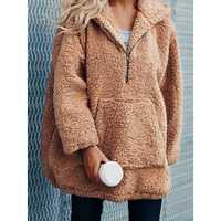 Women Fleece Oversize Zipper Pocket Hooded Sweatshirt