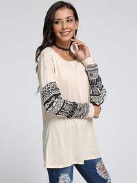 Fashion Women Casual Long Pattern Stitching Sleeve T-Shirt