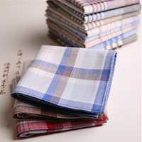 12PCS 40x40cm Classic Mixed Color Cotton Plaid Stripes Pattern Handkerchiefs Pocket Square Hanky