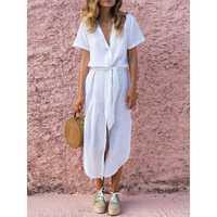 Women Short Sleeve V-neck Linen Cotton Maxi Shirt Dress