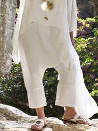 Women Cotton Linen High Waist Solid Harem Pant