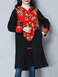Plus Size Vintage Women Floral Printed Hooded Coats