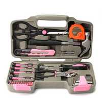 39Pcs Pink Repair Tool Set Household Kit Womens Ladies Carrying Toolbox Repair Box Case