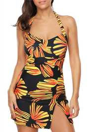 Women Halter Wireless Printing Backless Swimdress