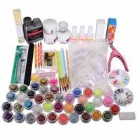 42 Acrylic Powder Brush Glitter Clipper File Nail Set