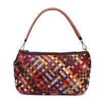 Genuine Leather Multi-colors Weave Handbag Shoulder Bag