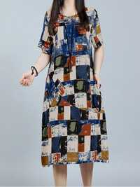 Casual Women Color Block Patchwork Summer Half Sleeve Dresses
