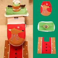 3PCS Christmas Santa Toilet Seat Covers Wtih Tissue Box and Rug Bathroom Set Christmas Decor