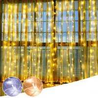 3M*3M 304 LED String Fairy Light White Warm White Window Curtain Party Wedding Decor EU Plug AC220V