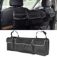 Oxford Cloth Car Trunk Seat Back Storage Bag Box Backseat Multi-Pocket Organizer Black
