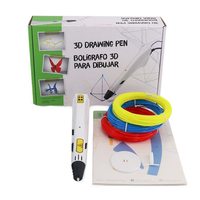 D9 3D Printing Low Temperature Drawing Pen with EU Plug/US Plug Power Adapter + 3 Roll Filament for Kids Learning Gift
