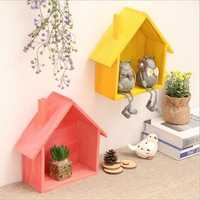 Creative Wood Storage Rack Wooden House Type Living Room Decoration Wall Shelf Retro Home Furnishing Storage Rack
