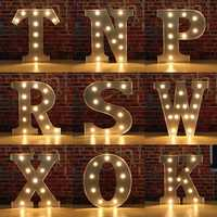 Vintage Metal LED Light DIY Letter N to X Sign Carnival Wall Marquee Decoration