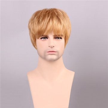 VRO US$56.43 Men Human Hair Wigs Golden Brown with Blonde Short Mono Top Male Virgin Remy Capless