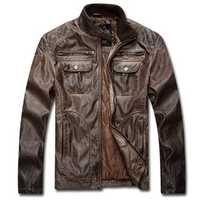 Vintage Motorcycle PU Leather Biker Jacket Winter Retro Locomotives Cool Men Coat