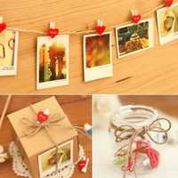 10Pcs New Mini Hearts Photo Clip Colorful Wooden Pegs Crafts Clothes Hanging