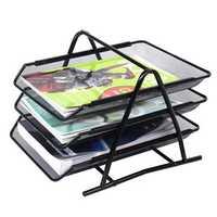 Office Filing Trays Holder A4 Document Letter Paper Wire Mesh Storage Organiser Bookshelf