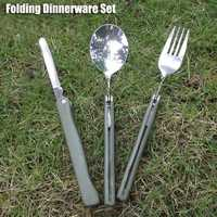 3 in1 Outdoor Folding Dinnerware Set BBQ Travel Camping Folding Knife Fork Spoon Utensils