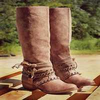 Rivets Mid Calf Motorcycle Boots