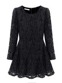 Elegant Women Plus Size Long Sleeve Thin Lace Dress