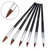 6pcs Nail Art Brushes Set Kit Design DIY Painting Carve Marble Drawing Sable