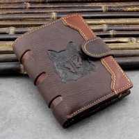 Men Genuine Leather Vintage Wolf Printed Wallet Card Holder