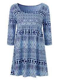 Blue Women Casual 3/4 Sleeve Geometric Printing Mini Dresses