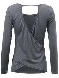 Sexy Casual Women Solid Long Sleeve Backless Hollow Irregular T-Shirt