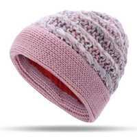 Women Warm Fleece Lining Hand-Knitted Hat Woollen Beanie