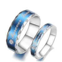 Forever Love Words Women Men Ring Stainless Steel Blue Finger Ring For Couple