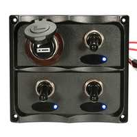 12-24V Caravan RV Boat Marine LED Toggle Switch Panel Socket