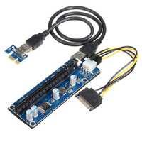 006C 6Pin PCIe PCI 1x to 16x Express Riser Card USB 3.0 4 Capacitance Mining 60CM