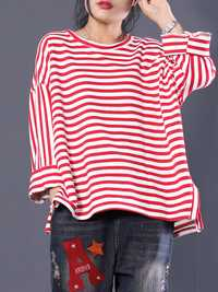 Women Stripe Round Neck High Low Long Sleeve Hoodies