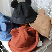 Women Plain Weave Thickened Warm Woolen Mickey Bucket Hat
