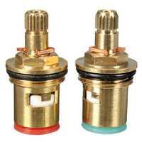 2pcs 1/2 inch Quarter Turn Tap Valve Cartridge Brass Ceramic Disc Hot Cold Replace