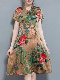 Elegant Floral Print Short Sleeve Dress