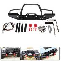 1/10 RC Crawler Car Aluminum Front Bumper w/ Winch Mount LED for Traxxas TRX-4 Rc Car Parts