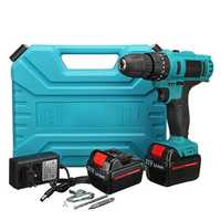 21V Cordless Impact Power Drill Electric Screwdriver Set with 2 Li-ion Batteries