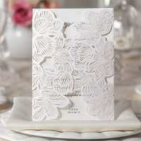 10Pcs White Damask Embossed Flowers Card Party Birthday Laser Cutting Wedding Invitation Card