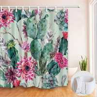 180*180cm Modren Cactus Bathroom Curtains Polyester Waterproof Shower Curtain Set