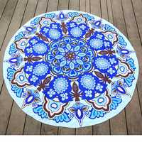 145cm Round Blue Print Thin Chiffon Beach Yoga Towel Mandala Tablecloth Bed Sheet Tapestry