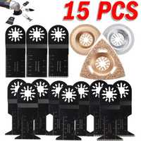 15pcs Oscillating Multitool Saw Blades Set For Fein Multimaster Bosch Multitool