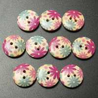 10pcs 18mm Round Wooden Flower Printed Button Craft Colorful DIY Sewing Crafts Clothes Decoration