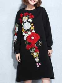 Vintage Women Embroidered Floral Loose Sweatshirrt Dress