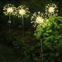 Solar Powered 8 Modes 120 LED Firework Starburst String Light Outdoor Waterproof Lawnscape Lamp DC3V