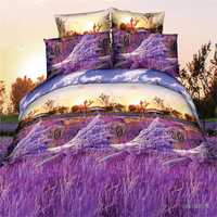 4pcs Suit Polyester Fiber 3D Lavender Reactive Dyeing Bedding Sets Queen King Size